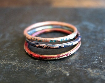 Mixed Metal and Patina Stacking Rings - size 5.5