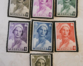 8 Postage Stamps, Belgium 1935, Full Set Honoring Queen Astrid, Uncanceled
