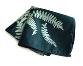 Fern Leaves pocket square. Screenprinted frond handkerchief. Men's microfiber hanky. Your choice of fabric color.
