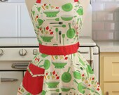 Retro Sweetheart Apron Green Pots and Pans on White BELLA