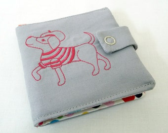 Parisian Puppy Embroidered Wallet, Hot Pink Thread on Grey Kona Cotton