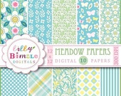 40% off Blue and Yellow digital papers with modern floral designs, butterflies, vines in pale pinks, green, teal and yellow Digital Download