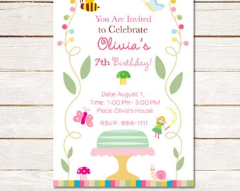 50% off Magical Garden Birthday Party Invitation fairy, cake, butterflies, Girls DIY printable Customized