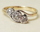 Art Deco Old Cut Diamond Trilogy Ring, 9k Gold, Platinum and Diamond Engagement Ring Approx. Size US 6