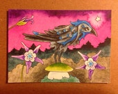 Raven columbine flower Original Painting ACEO