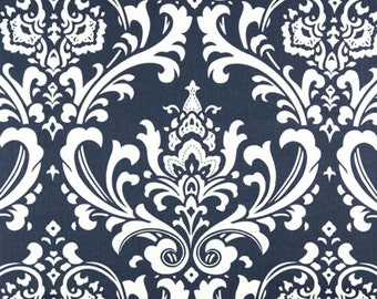 Premier Prints Ozborne Navy Blue White Damask Twill Home Decorating Fabric BTY