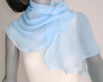 Light Blue Neck Scarf, Sky Blue Scarf, Sheer Scarflette, Pure Silk Chiffon, Something Blue, Unique Hand Dyed, Petite XS S M, Ready to Ship