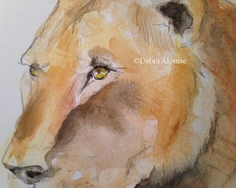 Lioness Watercolor Art Original Painting by Wildlife California Artist debra alouise