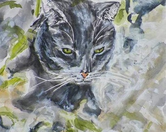 Cat in the Garden Art Original Watercolor Pet Animal Painting Abstract by Artist Debra Alouise