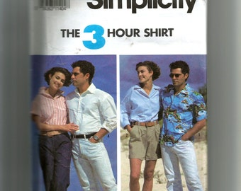 Simplicity Misses' and Men's Shirts Pattern 7330