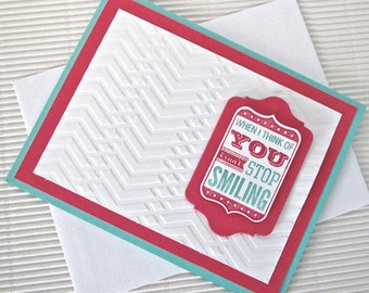 When I think of you I can't stop smiling card handmade stamped embossed love anniversary thinking of you aqua pink stationery greeting