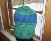 Hand Knit hand dyed knitted Merino Wool CormoMorehouse Farms  hat watch cap beanie ski cap chapeaux blue green men women large