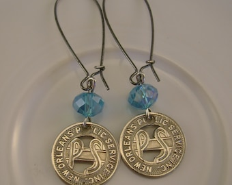 Esplanade  - Vintage New Orleans Public Service Streetcar Tokens Turquoise Beads Recycled Repurposed Jewelry Earrings