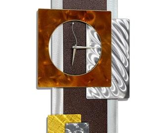 Brown Gold & Silver Abstract Metal Clock - Contemporary Functional Wall Art - Handmade Pendulum Timepiece - Tectonic by Jon Allen