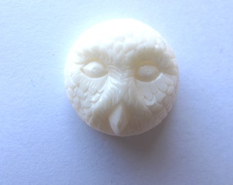 MS NEW Handcarved Cow Bone Snowy Owl Cabochon Cab 16mm Bali Fair Trade