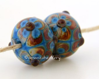 Dark TURQUOISE Blue and RAKU Daisy Flower Pair Lampwork Glass Bead - taneres - quantity discount available