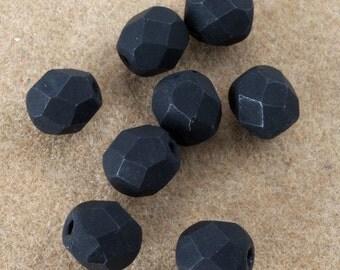 6mm Matte Black Fire Polished Bead (25 Pcs)  #GBD077