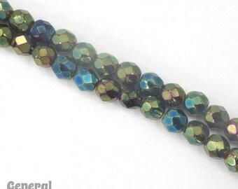 5mm Green Iris Fire Polished Bead (50 Pcs)  #3515
