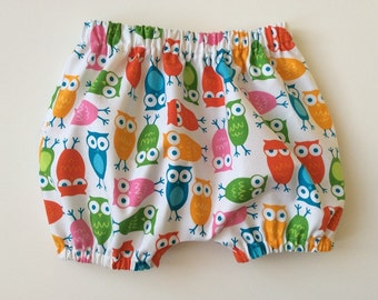 Baby BLOOMERS BUBBLE SHORTS Urban Owls Girls Sizes 3 months - 3 yrs.
