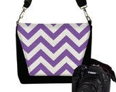 CLEARANCE Purple Chevron Camera Bag DSLR, Padded Camera Bag Slr, Camera Bag Purse, Womens Camera Handbag  Violet black white RTS