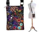 Cell Phone Case Small Crossbody Bag  iPhone 6 Shoulder Bag Cross Body Purse, fits other models too, colorful Dots Circles MTO