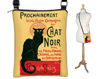 Le Chat Noir  Sling Bag,  Black Cat Purse Small Shoulder Bag, Fabric Handbag Crossbody Purse, Art Bag, zipper red yellow black MTO