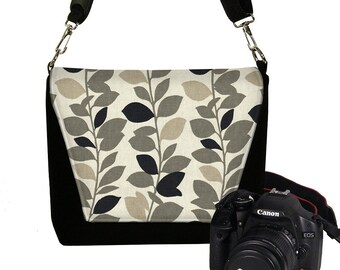 CLEARANCE Digital Camera Bag, Women's Camera Bag Water Resistant DSLR Camera Bag Padding Pockets Zipper  Vines gray tan black leaves RTS
