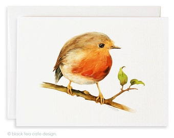 Set of 4 watercolor note cards - Little Robin Bird Cards, Stationery, Birds watercolor cards