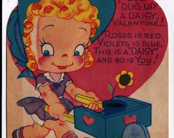 Vintage 1920's Dust Dug Up A Daisy Valentine Greetings Card (B7)
