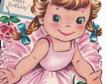 Vintage 1950's To A Fine Big Girl Happy Birthday Ballet Greetings Card (B15)