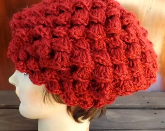 Crochet Beret Hat,  Autumn Red Crochet Hat Womens Hat Trendy,  Crochet Shell Stitch,  Crochet Beret Hat,  Autumn Red Hat,  Lena