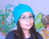 Bright Turquoise Beanie Hat, Slouchy Cap, Fashion Accessory Teen - Adult Size, Fits All - One of a Kind