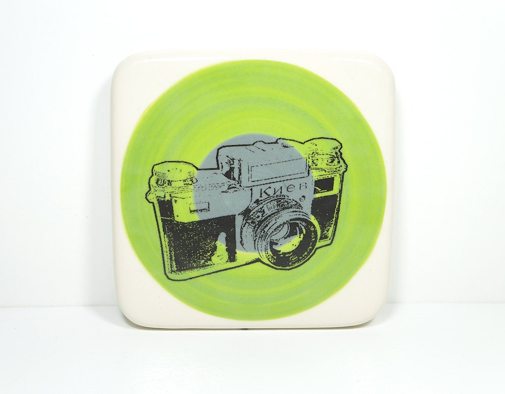 tile with a Kiev camera on colour block of leafy green and storm grey, made to order.