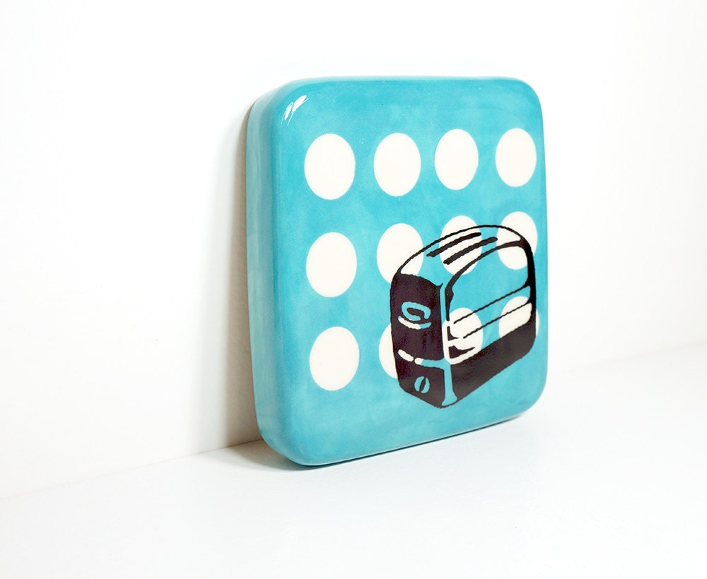 tile with a toaster on white polkadots and turquoise, made to order / pick your colour