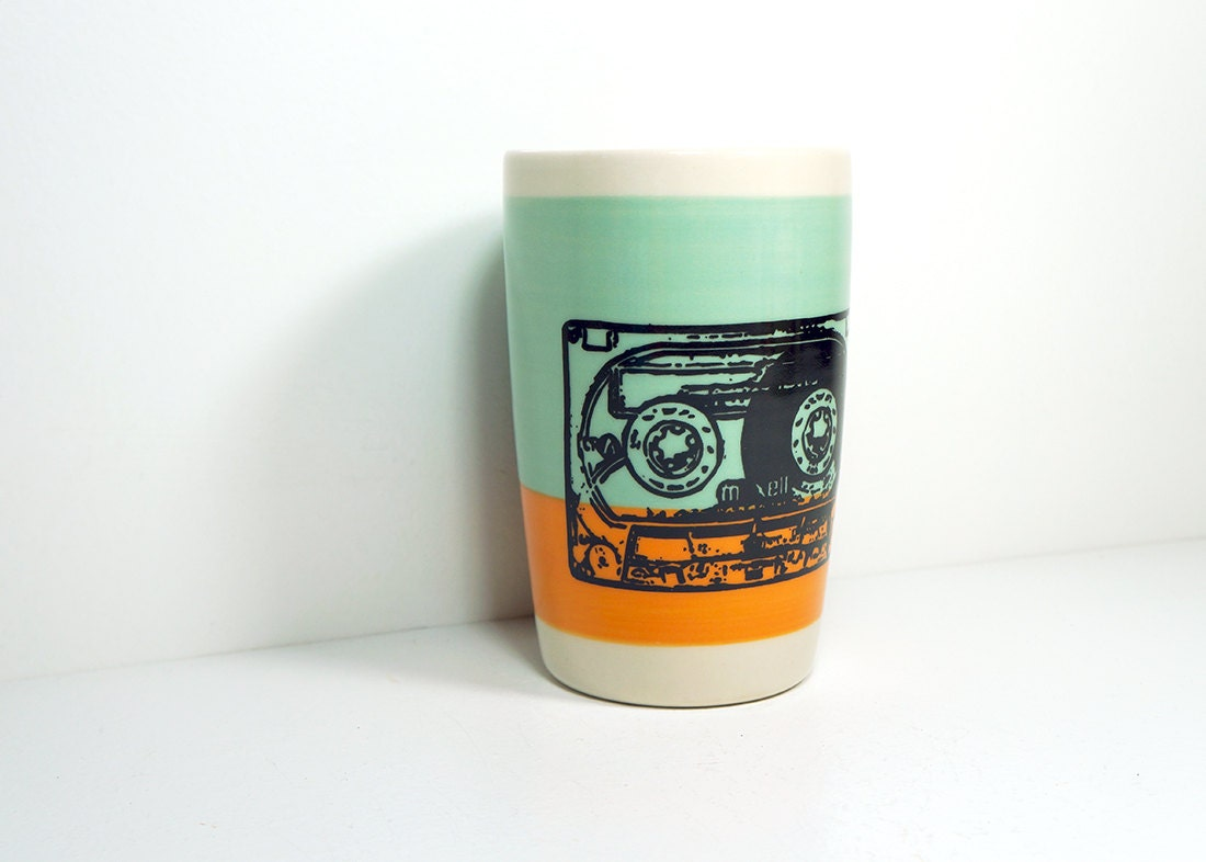 18oz tumbler with a mix tape on a colour block of blue green & creamsicle, made to order.