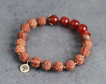 Rudraksha seed bracelet with Red Carnelian, golden bronze Tree of Life charm