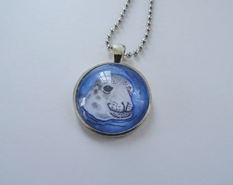 Gray Seal Necklace, Seal Jewelry SALE, Seal Pendant and Chain, Marine Mammal, Seal Art, Blue and Gray, Beach Necklace Jewelry