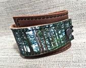 Leather Cuff Unisex Wrap, West Coast Forest Digital Photo Print on 100% Genuine Leather