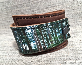 Leather Cuff Unisex Wrap, West Coast Forest Digital Photo Print on 100% Genuine Leather
