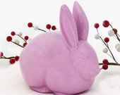 Lavender Cottontail Bunny Ceramic Cotton Ball Holder Rabbit Cotton Keeper for Bath Vanity