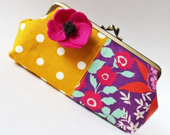 Clutch fuchsia pink flowers on purple white polka dots on mustard yellow mint green bright spring kiss lock purse magenta flower pin floral