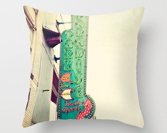 nashville throw pillow covers, decorative pillow covers, photography throw pillow, downtown nashville vintage sign photograph, broadway