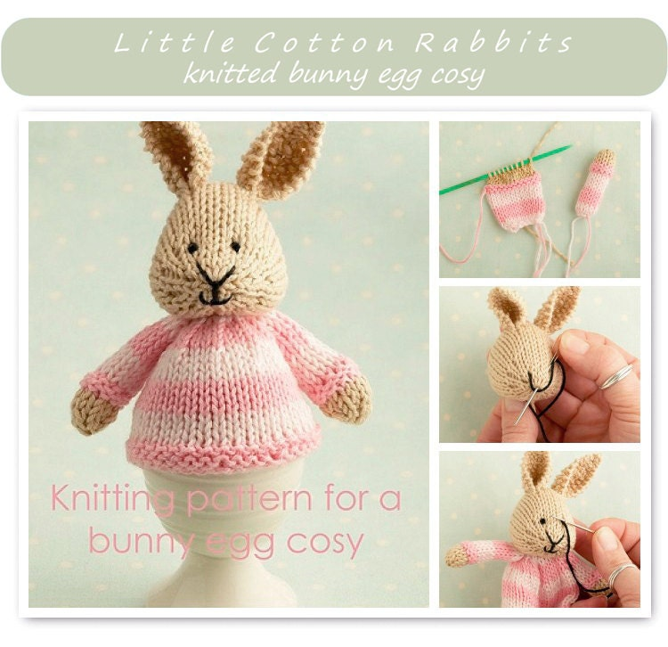 Knitting Pattern For An Egg Cosy : Toy knitting pattern for a bunny egg cosy Easter bunny