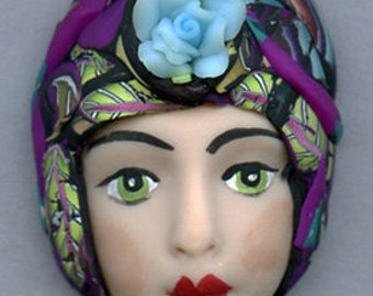 OOAK Polymer Clay Detailed Art Doll face with Faux Fabric Clay Hat AHF 5