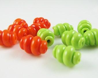 Summer Mix Corkscrew Swirl Lampwork Glass Beads-Set of 12