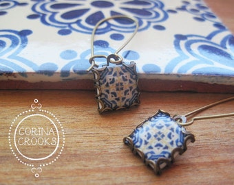 Azulejos tiles, Portuguese jewelry, Mediterranean earrings, Spanish tile drop earrings, Gypsy Boho jewelry, Iberian, Moorish, blue and white
