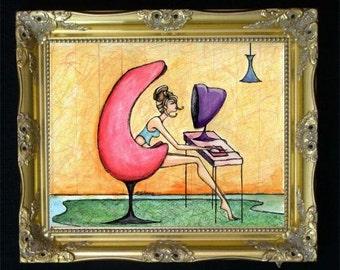 Apple Computer Art Print, McIntosh Giclee, Retro Poster, Messy Bun, Colorful Wall Art, Geek Gift, Tech Lover, Vintage Illustration, Shano