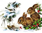 Birds and Bunnies Applique Fabric Block Quilt Panel Quilting, Sewing, Craft Projects 200 Thread Count White Pima Cotton Fabric