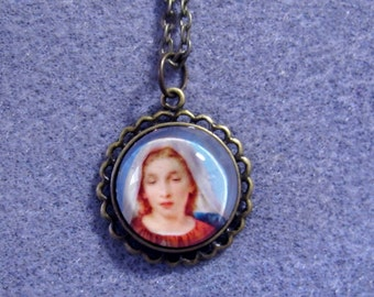 """Immaculate Heart of Mary Catholic Glass Round Pendant Bronze Necklace 24"""""""