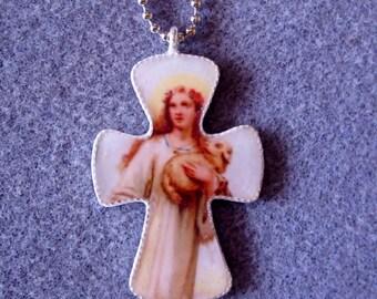St. Agnes Handmade Catholic Resin Cross Crucifix Necklace A3